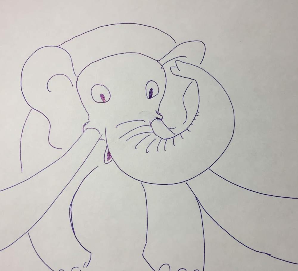 Cartoon of a charging elephant