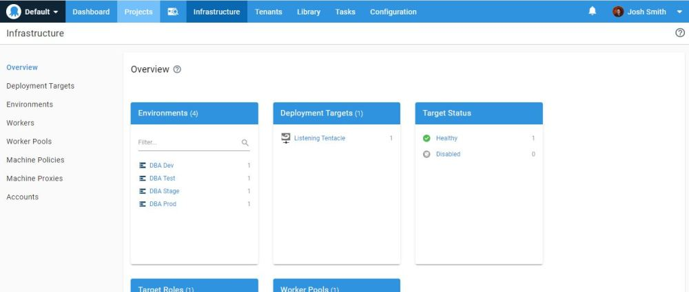 Screen shot of the Octopus Deploy Infrastructure page. It shows 4 environments and 1 deployment target.